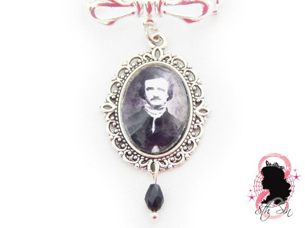 Antique Silver Edgar Allan Poe Lapel Brooch